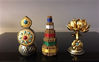 Gold Plated & Gem Studded Flower, Food & Incense Torma Set