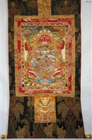 Bhavachakra Wheel of Life Print Brocaded Thangka 50 inches