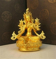 Green Tara Gold Plated 6 Inch Statue