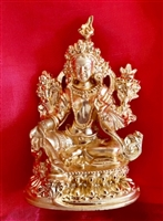 Green Tara Gold Plated 3.5 Inch Statue