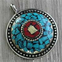 Turquoise, Coral and Brass Kalachakra Amulet Pendent