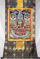 Guru Rinpoche Refuge Tree Print Brocaded Thangka 48 inches