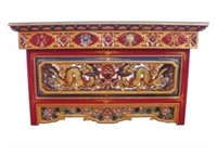 Hand Carved and Painted Puja Table with the Dragon and Eternal Knot