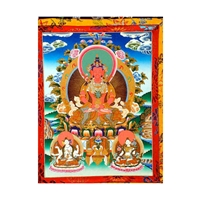 "Amitayus Hand Painted Brocade Thangka - Image 15"" x 20"""