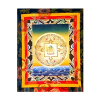 Manjushri Mandela Hand Painted Brocade Thangka with Pure Gold