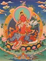 "Red Tara Hand Painted Brocade Thangka - Image 9"" x 12"""