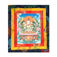 "Vajrasattva and Consort Hand Painted Brocade Thangka - Image 7"" x 9"""