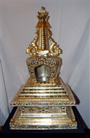 30 inch 24 Carat Gilded & Silver Copper Stupa