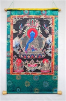 Extra Large Medicine Buddha  Silk Screen Thangka 5.5 Feet