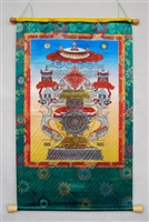 Large & Extra Eight Auspicious Good Fortune & Protection Print Thangka