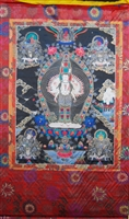 Extra Large or Large 1000 Armed Chenrezig  Silk Print Thangka