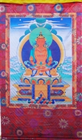 Large Amitayus Silk Screen Thangka 3.5 Feet
