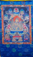 Large Guru Rinpoche Silk Screen Thangka 3.5 Feet