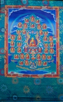 Large 35 Confessional Buddha's  Silk Screen Thangka 3.5 Feet