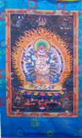 Extra Large or Large White Mahakala Silk Screen Thangka
