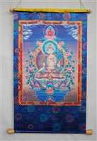 Extra Large or Large White Tara Silk Screen Thangka