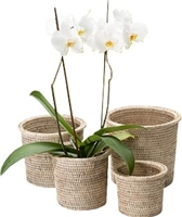 "Set of 4 Nesting Flower Baskets with Round Rimmed - White Wash 9x8""H/8x7""H/7x6""H/6x5""H"