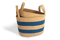 "S/2 Oval Laundry Tote Basket Loop Handle - Natural Jute Light Blue Stripe (19.5x14x13"" / 17x12x13"")"