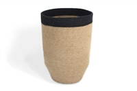 "Jute Trash Bin Tapered Bottom - Natural BodyBlack Border (10x14"")"