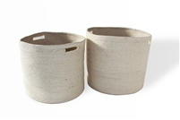 "S/2 Jute Round Storage Basket Cut Out Handles - Bleach White (15x14"" / 14x13"")"