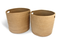 "Round storage basket with cut out handle set of 2 Material: Natural Jute..Size: Large-15X14"", Small-14X13"". ...."