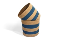 "Round storage Basket with cut out handle set of 2 Material: Natural Jute Natural Jute and Light Blue (Wide Stripe) Size: Large-15X14"", Small-14X13""."