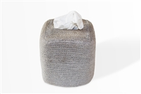 Jute Tissue Box Square - Silver Grey 5.75x6.25�