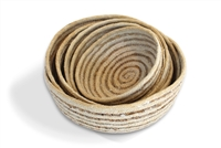 Jute Bowl rounded bottom (set of 6) Material: Bleached White Jute with Hogla/Typha(Mini Stripe)