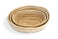 Jute oval Tray (set of 3) Bleached White  Jute with Hogla/Typha(Mini Stripe)