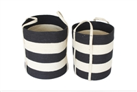 "S/2 Jute Round Laundry Basket Long Handle - Dark Grey/Bleach White Wide Stripe (15x17""/13x15"")"