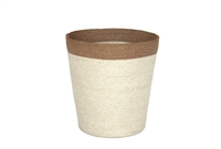 "Jute Round Conical Basket - Bleach White Body/Natural Border (10x13.5x13.5"")"
