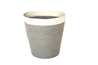 "Jute Round Conical Basket - Silver Grey Body/Bleach White Border (10x13.5x13.5""H)"