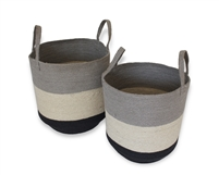 "S/2 Jute Round Storage Basket Loop Handles - Silver Grey/Bleach White/Dark Grey (15x17""/13x15"")"