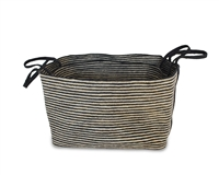 "S/2 Jute Rectangular Basket Long Handles - Dark Grey/Bleach White Mini Stripe (21x15x15""/18x13.5x13.5"")"