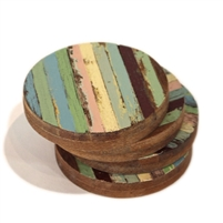 "Coaster Round S/4 RW Thin Stripe 4"".."