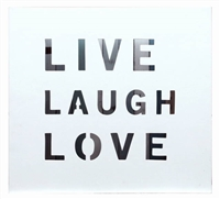 "Wall Panel Word ""Live Laugh Love"" Stripe  16x14.5x1.5"".."