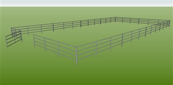 "48'W x 96'D 1-5/8"" 4-Rail w/ 12' Ranch Gate Arena"