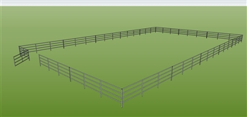 "72'W x 120'D 1-5/8"" 4-Rail w/ 12' Ranch Gate Arena"