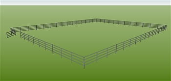 "96'W x 120'D 1-7/8"" 4-Rail w/ 12' Ranch Gate Arena"
