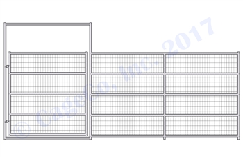 Horse Corral Gate 5 Rail With Welded Wire