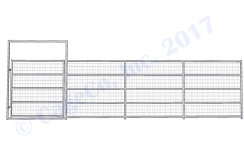 Horse Corral Gate 5 Rail With Welded Wire: