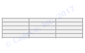 1 7/8 Horse Corral Panel 6 Rail With Welded Wire: 24'W x 6'H