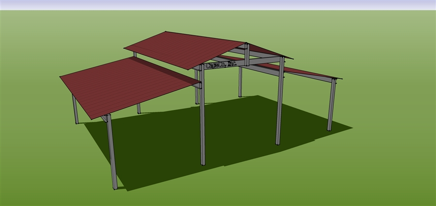 Cover 24x36 raised center aisle cactus horse corrals for 3999 roof