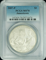2007-P PCGS MS70 Jamestown Silver Dollar Faded Label
