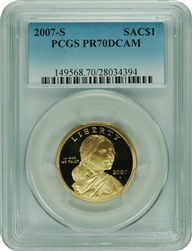 2007-S PCGS PR70DCAM SAC Silver Dollar Commemorative Faded Label