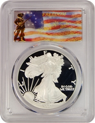 2007-W PCGS PR70DCAM Silver Eagle Dollar Freedom Label