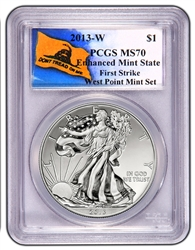 2013-W PCGS MS70 Enhanced Mint State SILVER EAGLE First Strike (Don't Tread On Me Label)