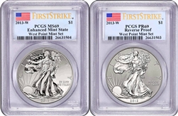 2013-W PCGS REVERSE PROOF 69 / MS69 Enhanced West Point Set FIRST STRIKE