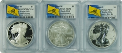2006 PCGS MS70/PR70/PR70 REV 20th Anniversary Silver Don't Tread On Me Label