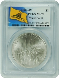 2002-W PCGS MS70 West Point Commemorative Silver Dollar Don't Tread On Me Label